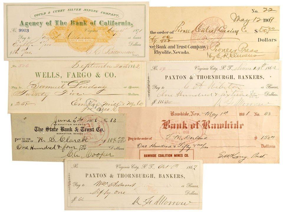 901: NV - 1862-1909 - Nevada Checks Grouping - Gil Schm