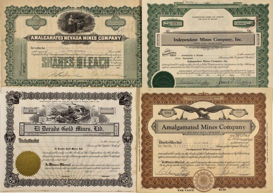 904: NV - c1930 - Nevada Mining Stock Certificates - Fe