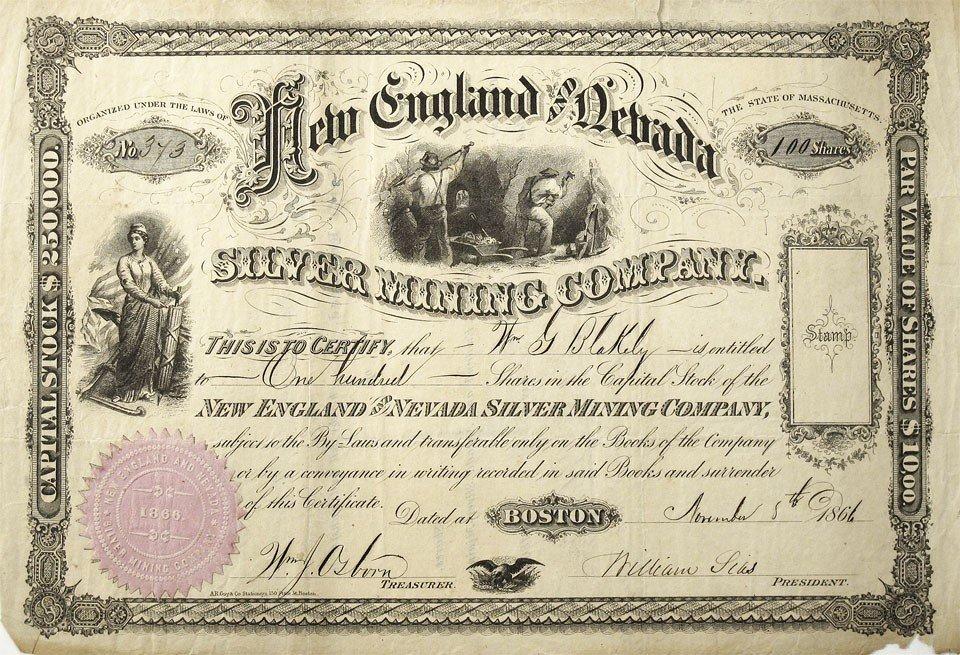 909: NV - Nov. 8, 1866 - New England and Nevada Stock C