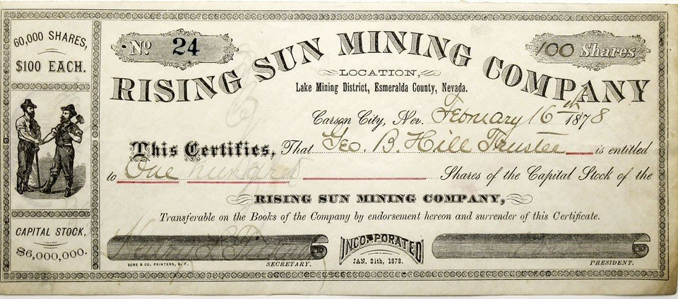 910: NV - Aurora County - 1878 - Rising Sun Mining Comp