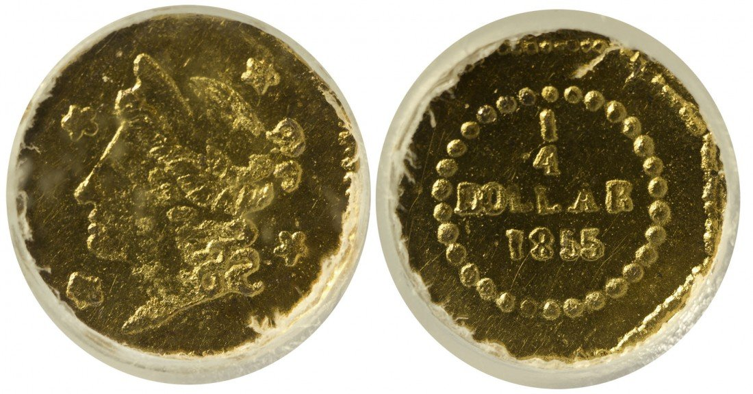 California Fractional Gold BG 106 25C Octagonal Liberty
