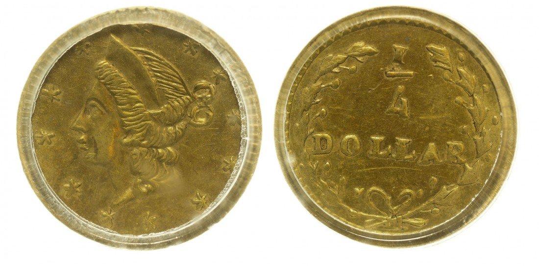 California Fractional Gold BG 203 25C Round Liberty