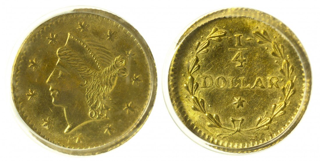 California Fractional Gold BG 221 25C Round Liberty