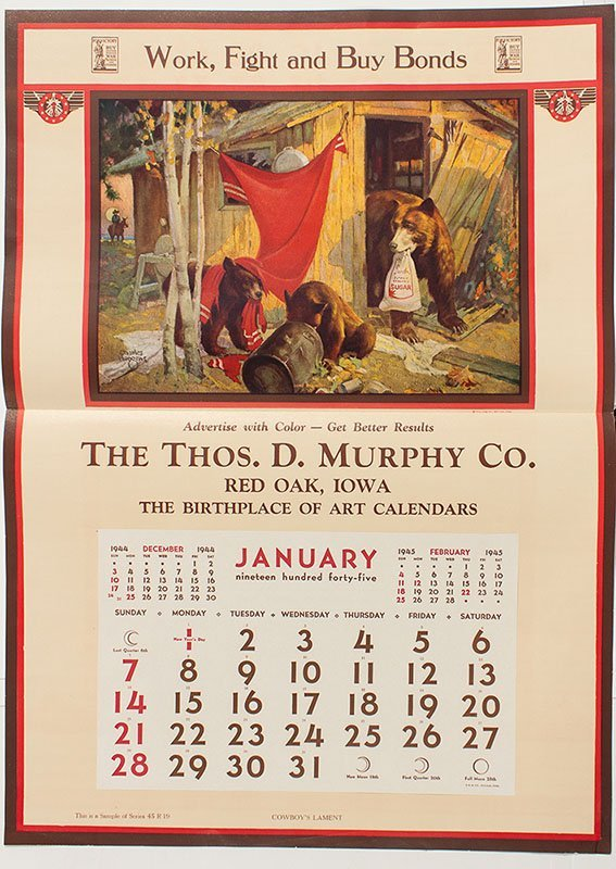 Calendar Broadside with Russell Art -