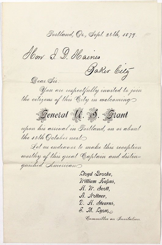 General U.S. Grant Invitation - Baker City, OR