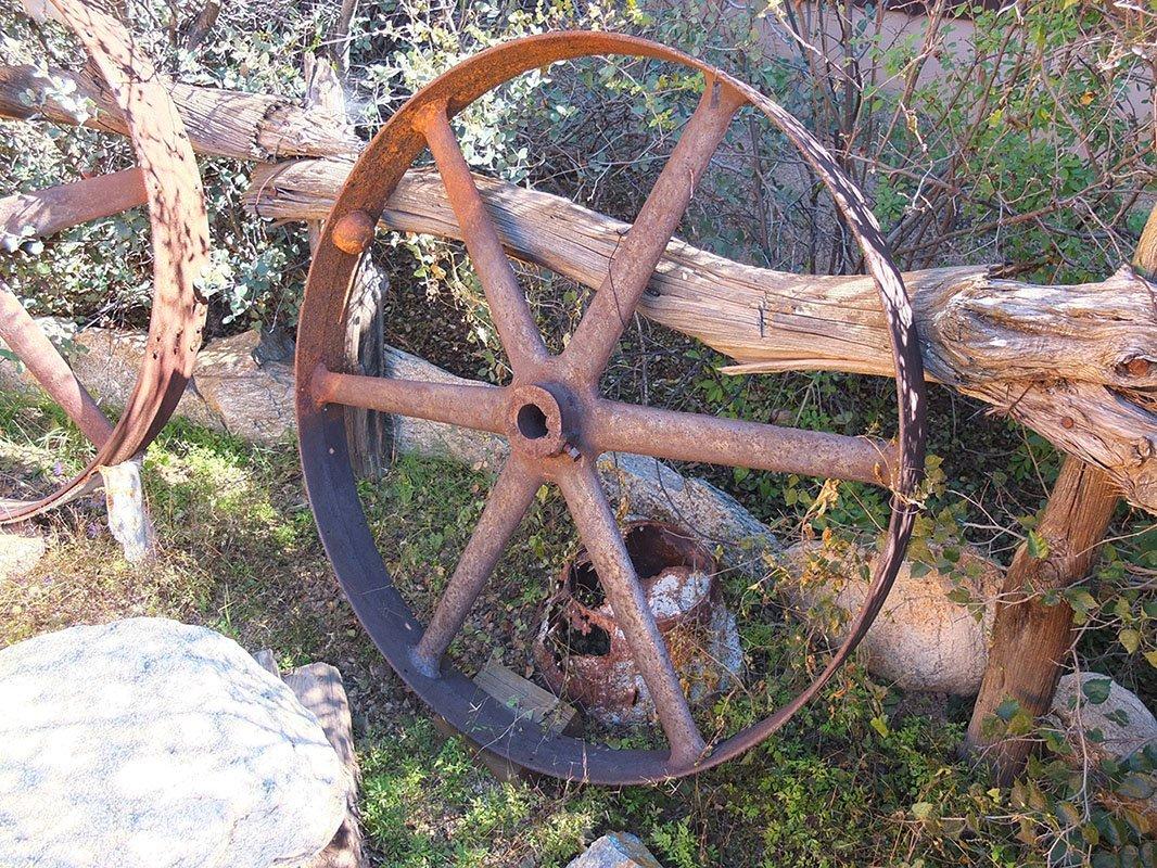 2 Rusty Old Spoked Wheels -