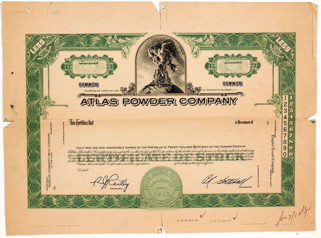 Atlas Powder Stock Certificate -