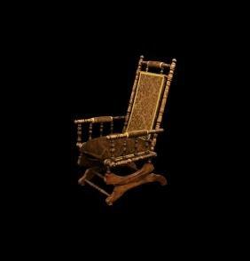 Antique American Edwardian Period Rocking Chair