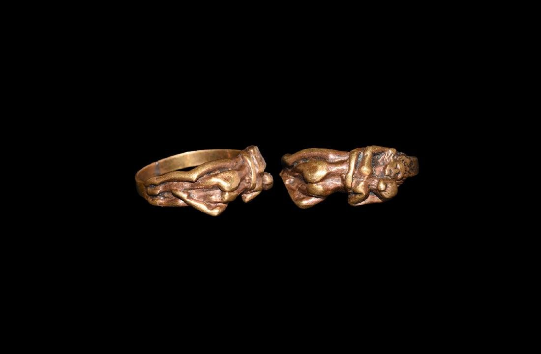 Post Medieval Gilt Erotic Ring.