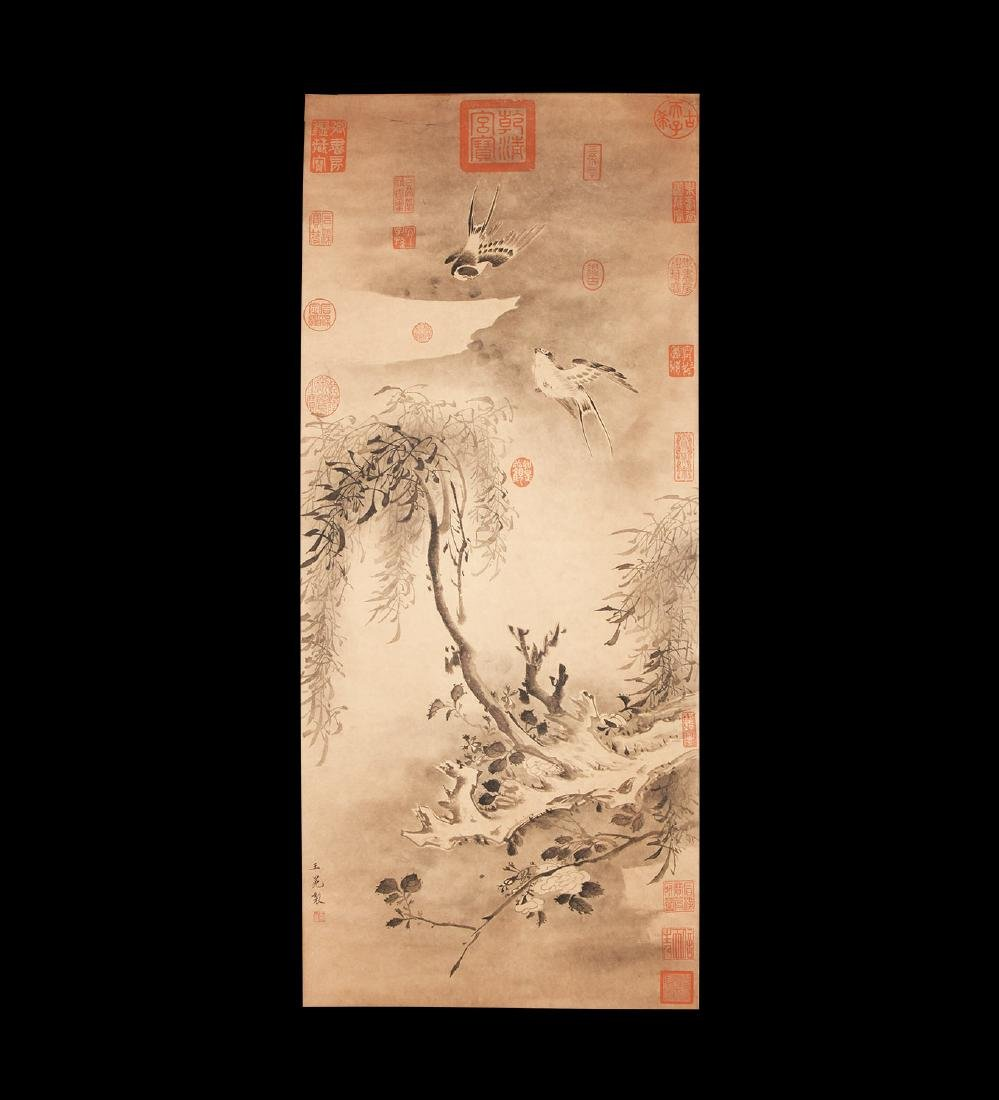 Chinese Scroll Painting with Birds and Tree