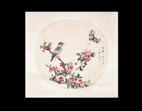 Chinese Scroll Painting with Bird and Blossom