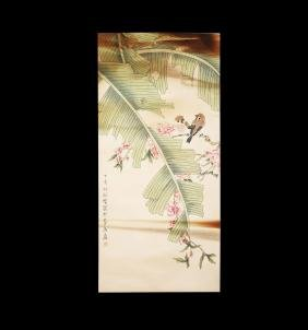 Chinese Scroll Painting of Birds on a Banana Tree