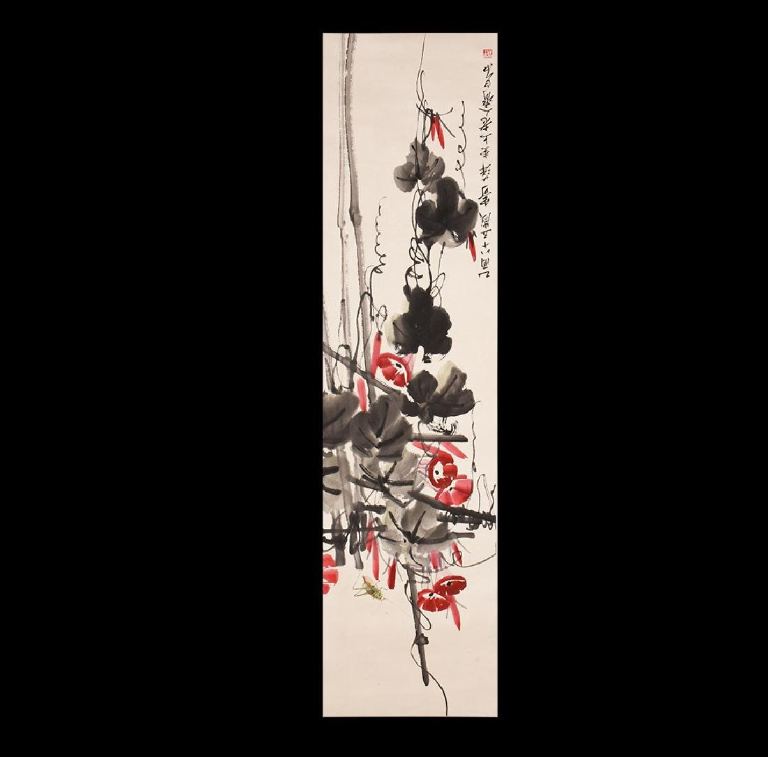 Chinese Scroll Painting with Morning Glory