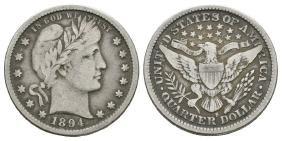 World Coins USA - 1894S - Barber Quarter Dollar
