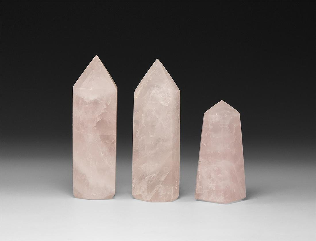 Rose Quartz Obelisk Set.