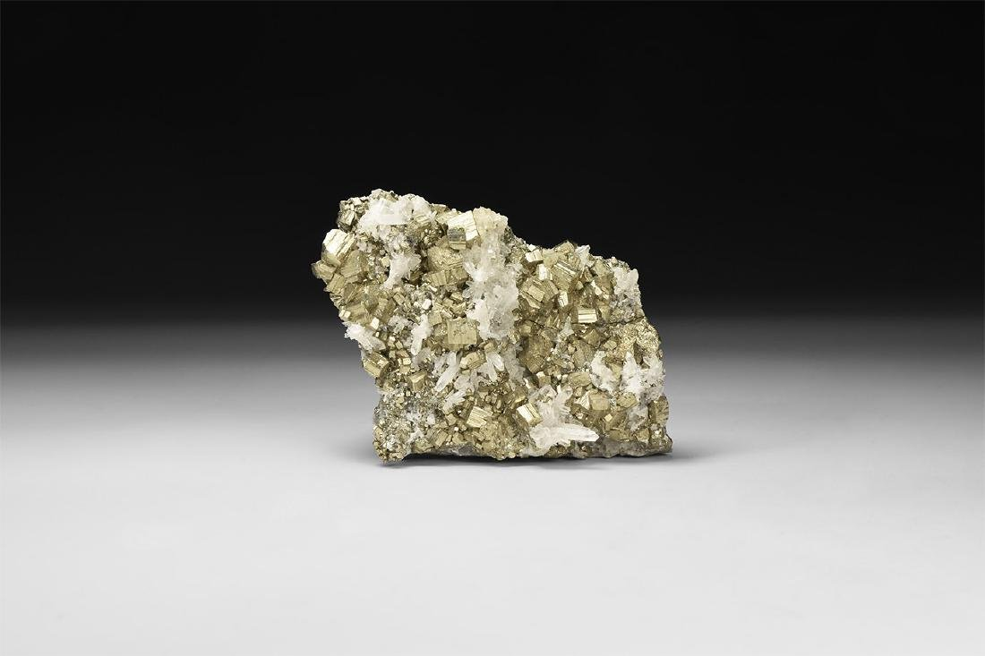 Quartz on Pyrite Mineral Specimen.