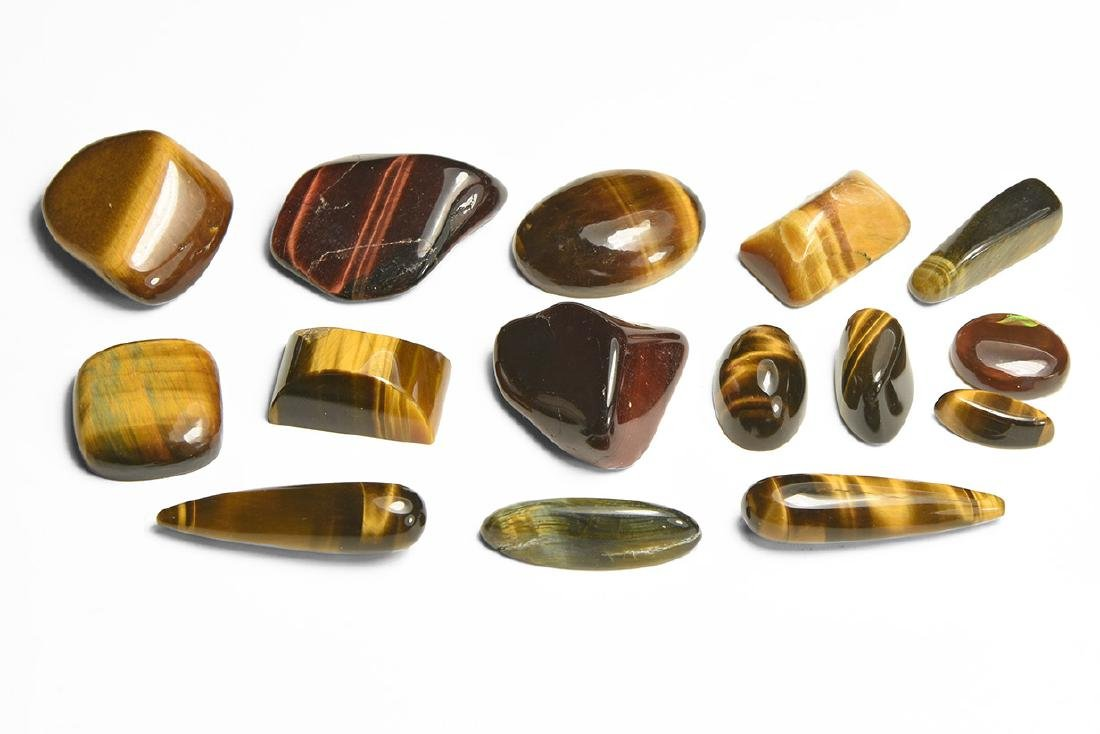 Tiger's Eye Polished Pieces Group.