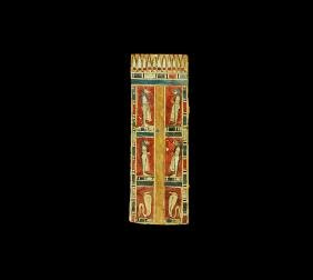 Egyptian Cartonnage Panel with Four Sons of Horus
