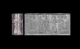 Babylonian Cylinder Seal - Shamash & Inscription