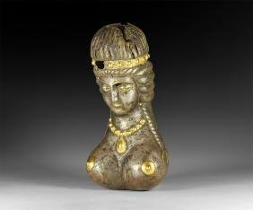 Sassanian Bust with Jewellery and Braids