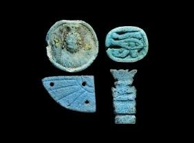 Egyptian Large Amulet and Scarab Wing Group