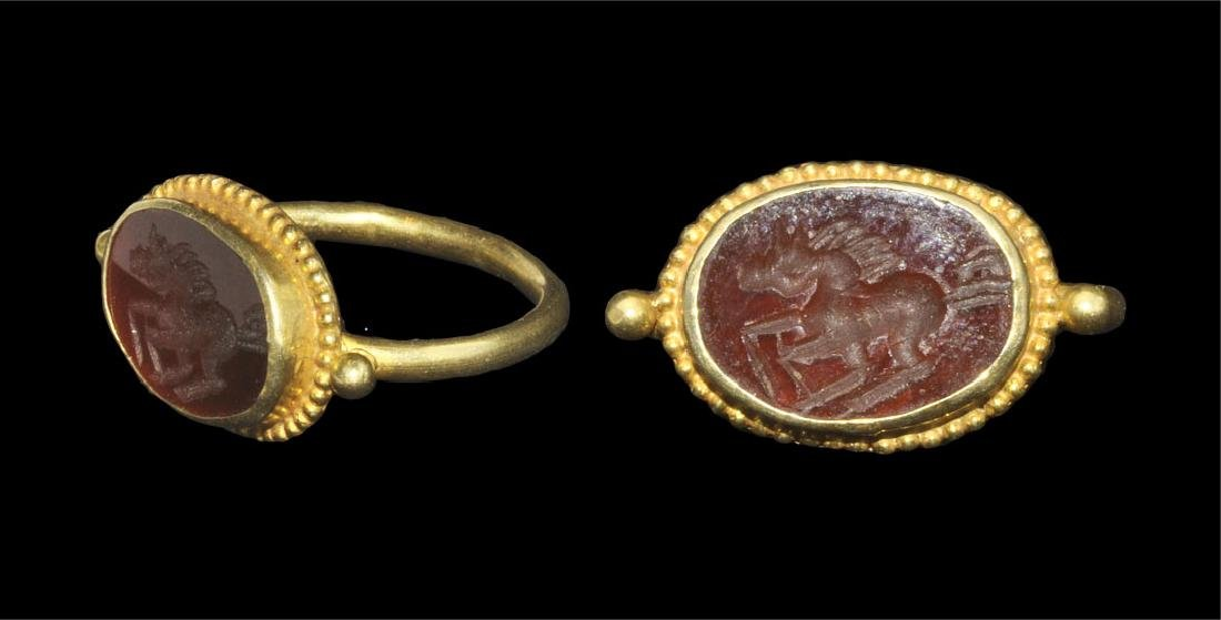 Roman Style Gold and Carnelian Intaglio Finger Ring