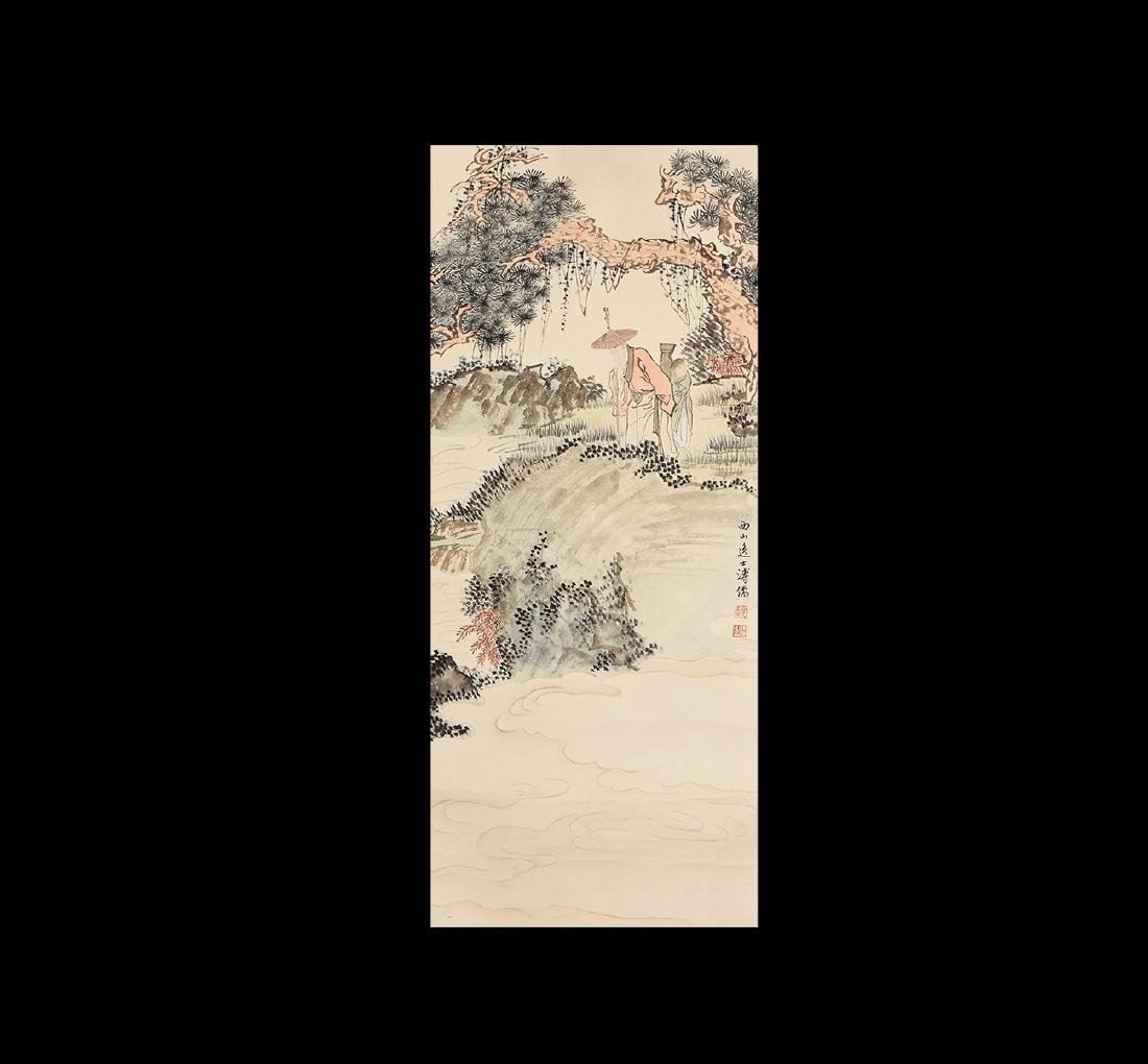 Chinese Scroll Painting with Landscape and Figures