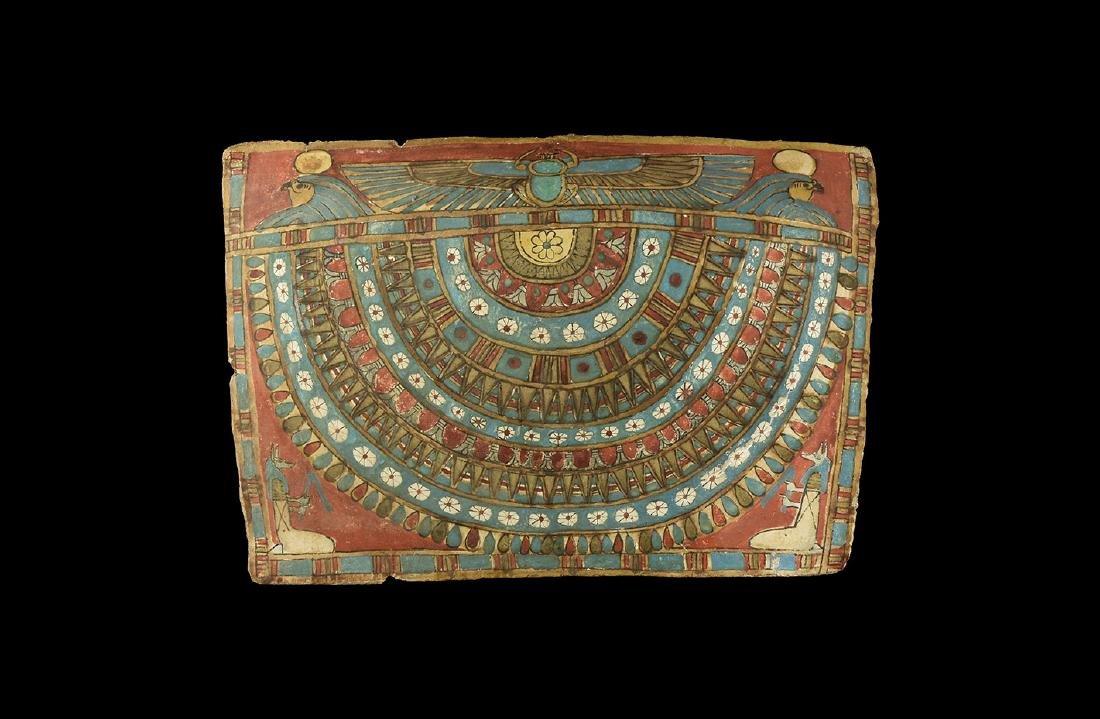 Egyptian Cartonnage Panel with Kheper-Ra & Anubis