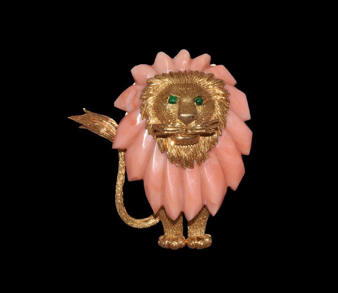 Post Medieval Lion Brooch with Rhodonite Mane