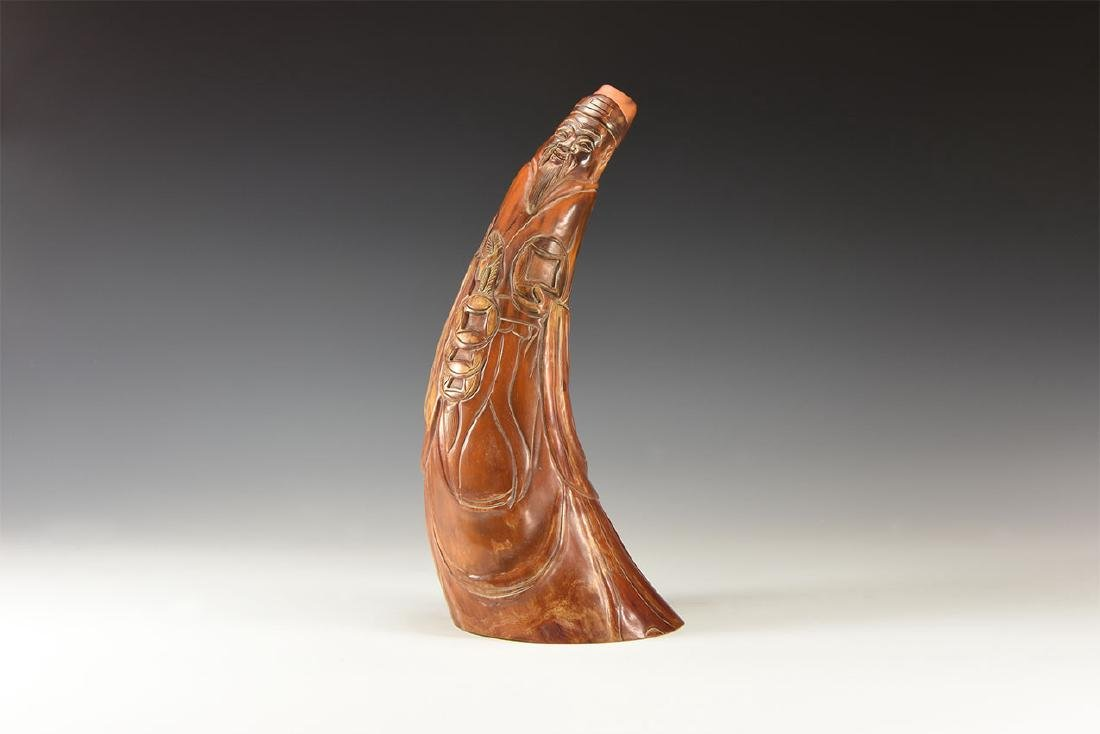 Chinese Horn with Taoist God