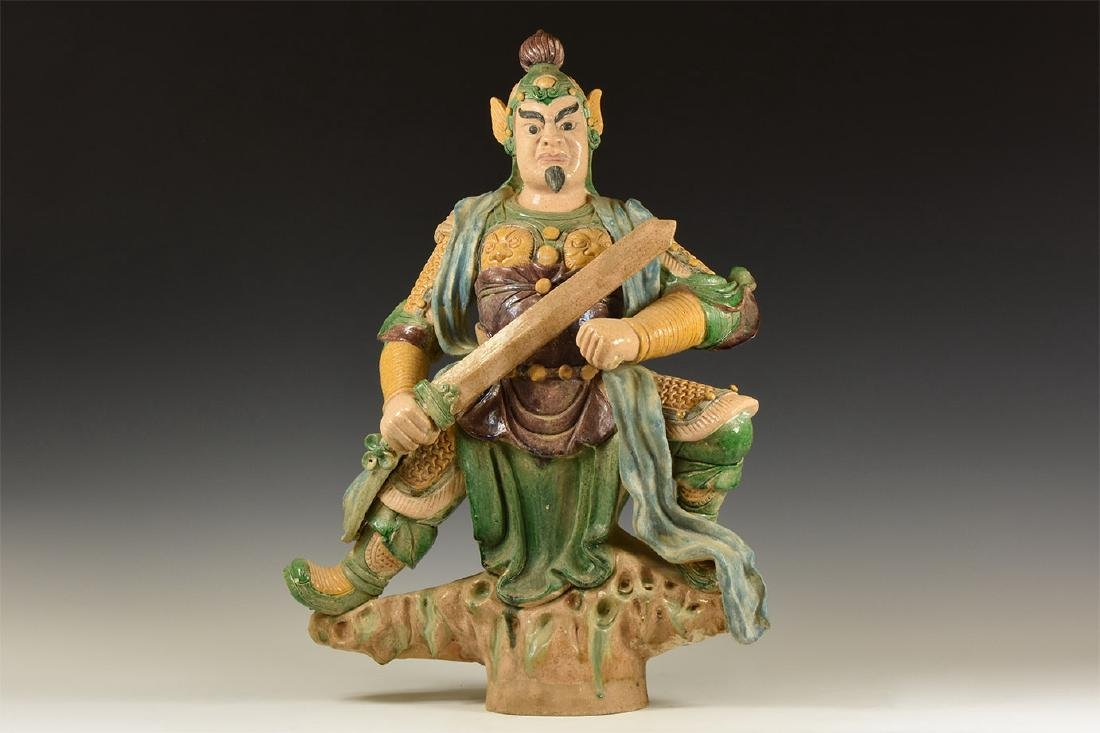 Chinese Very Large Guan Yu Figure with Sword