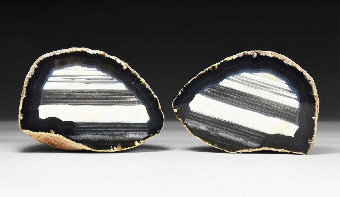 Cut and Polished Banded Agate Nodule