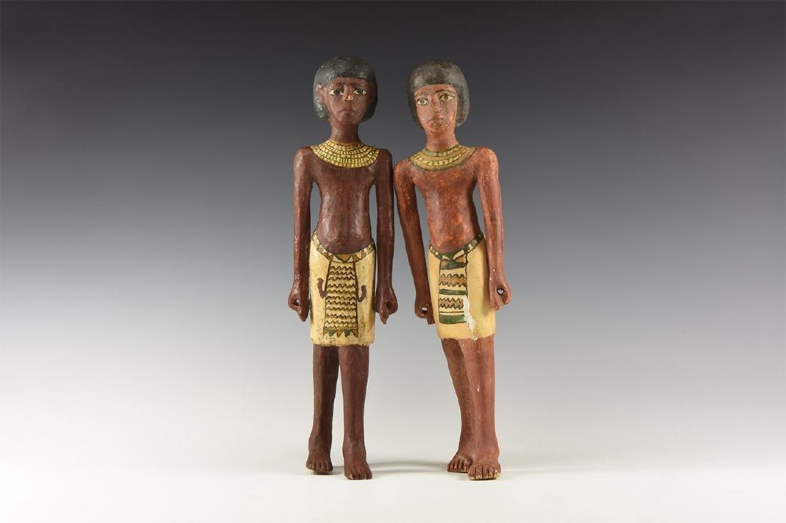 Egyptian Wood Figurine Pair