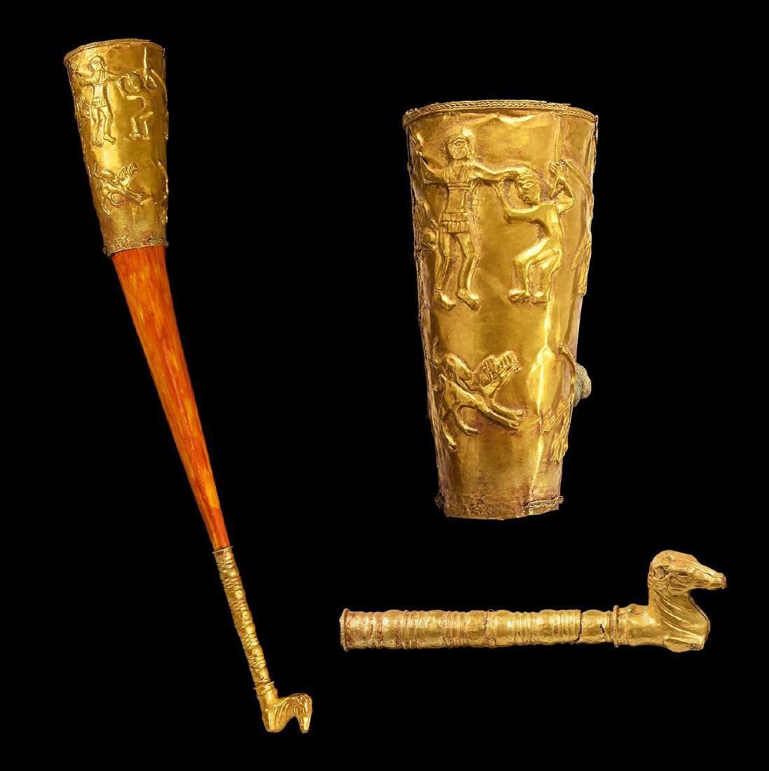 Greek Gold Rhyton with Combat Scene & Horse