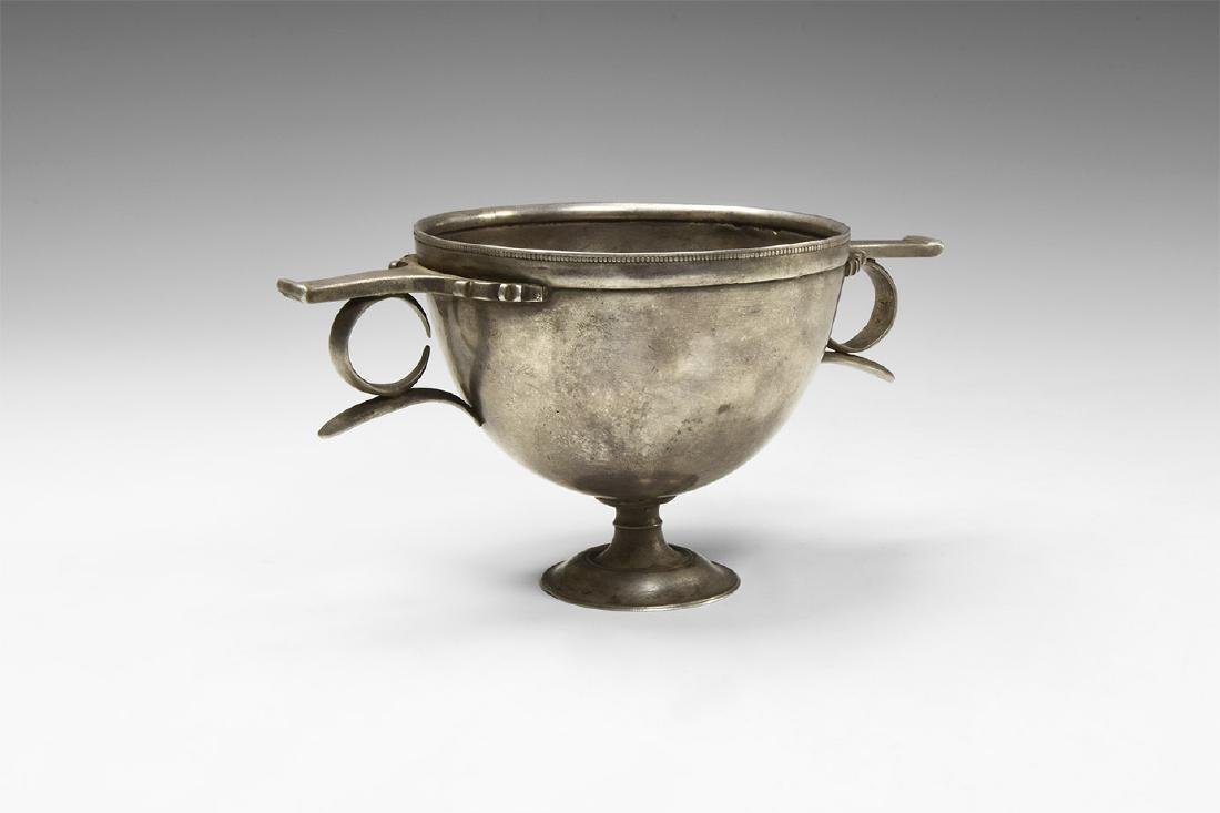 Hellenistic Silver Skyphos with Beaded Border