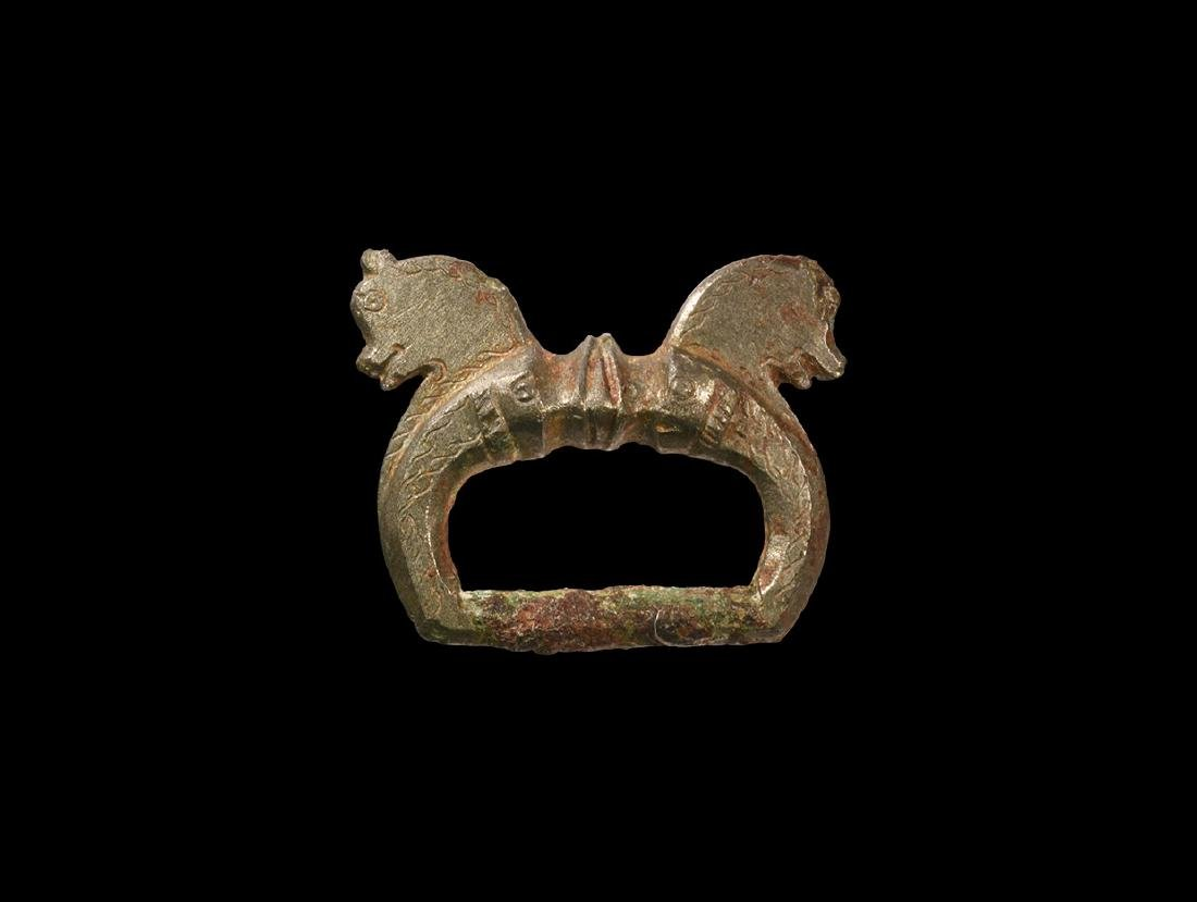 Roman Military Dolphin Buckle with Horse Heads
