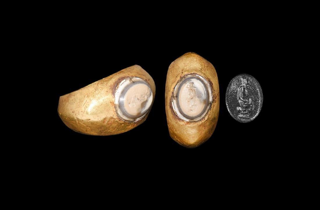 Roman Gold Ring with Cornucopia Intaglio