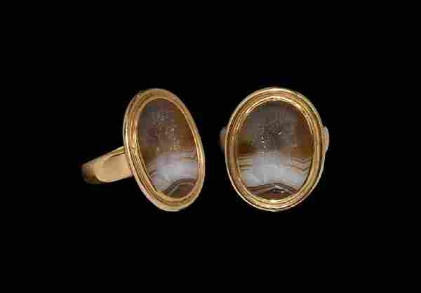 Post Medieval Gold Ring with Emperor Intaglio