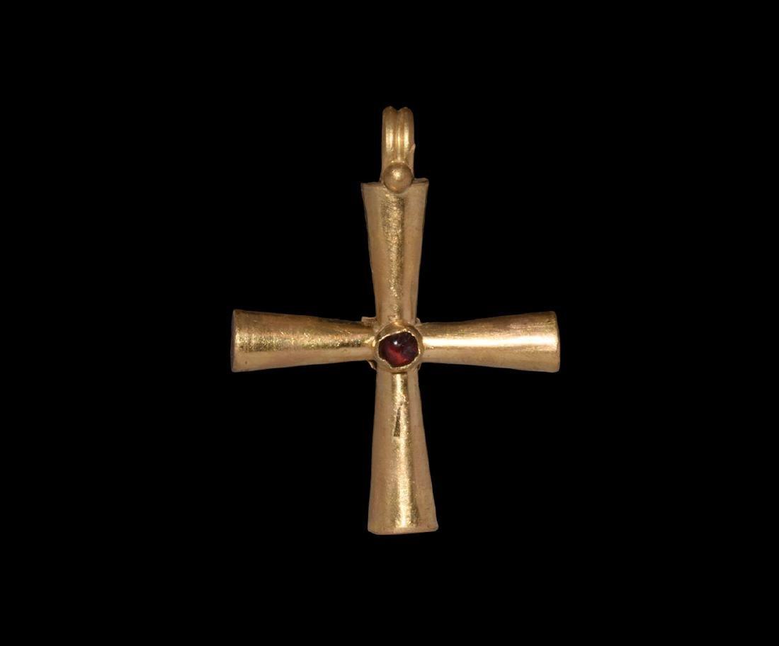 Byzantine Gold Cross with Garnet