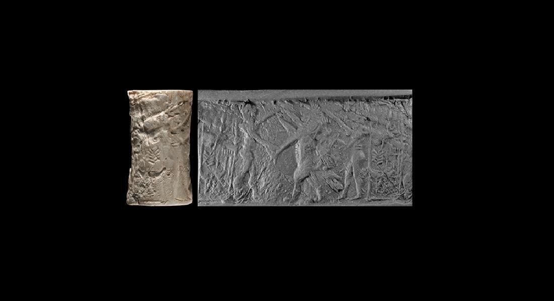 Akkadian Cylinder Seal with Hero Scene