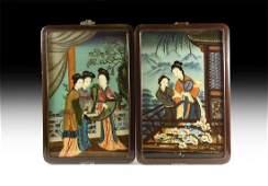 Chinese Glass Painting Pair