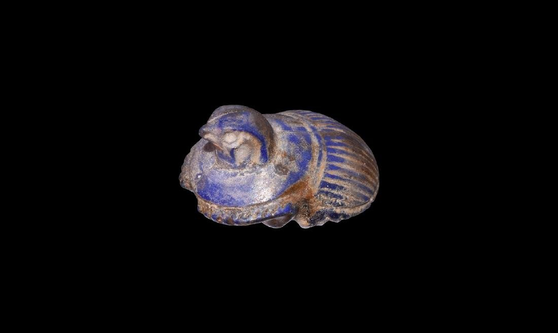 Egyptian Lapis Lazuli Hawk-Headed Scarab