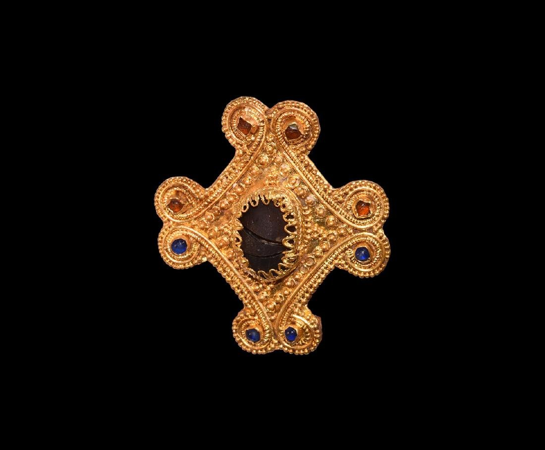 Gold Lozenge-Shaped Jewelled Plate Brooch