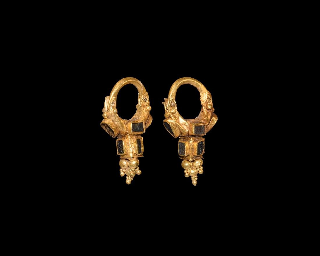 Greek Hellenistic Gold Earrings with Inlays