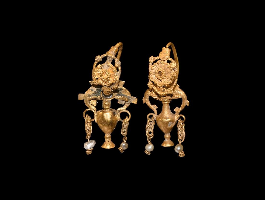 Greek Gold Amphora Earrings with Filigree