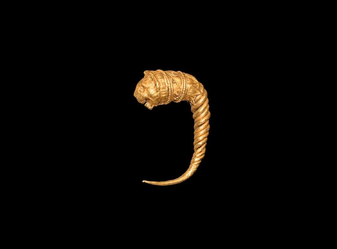 Greek Gold Lion Earring