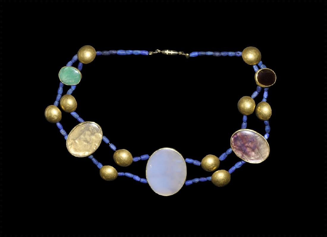 Greek Hellenistic Gold Jewelled Necklace