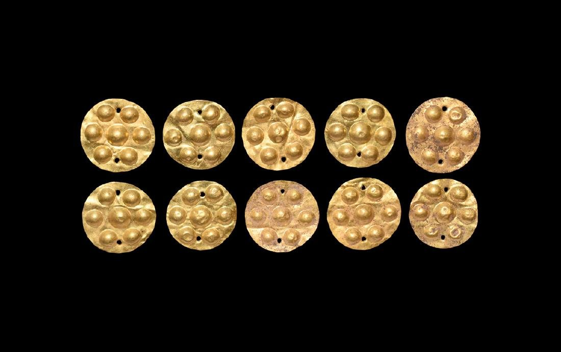 Greek Gold Shield-Shaped Plaque Group