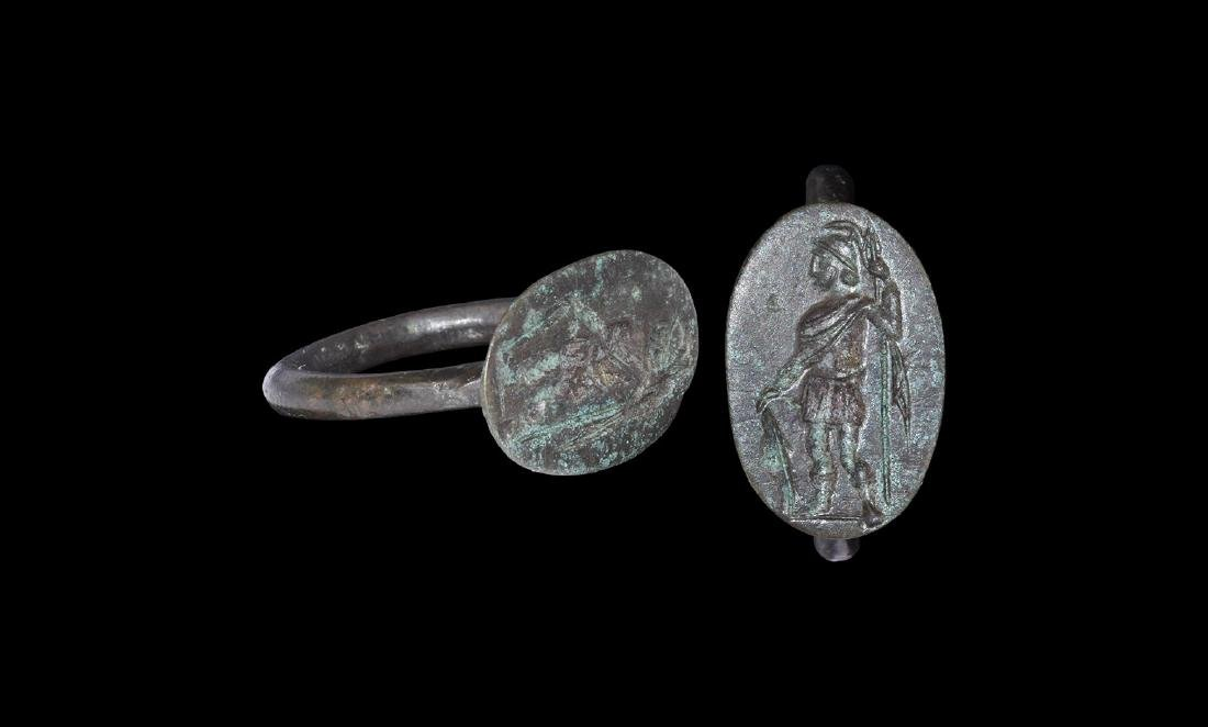 Greek Ring with Standing Warrior