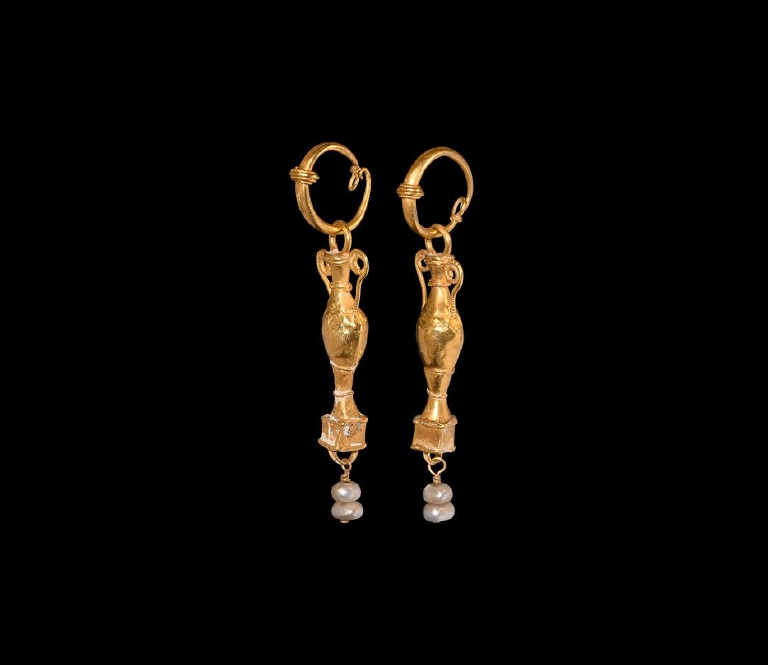 Roman Gold Amphora Earrings with Pearls